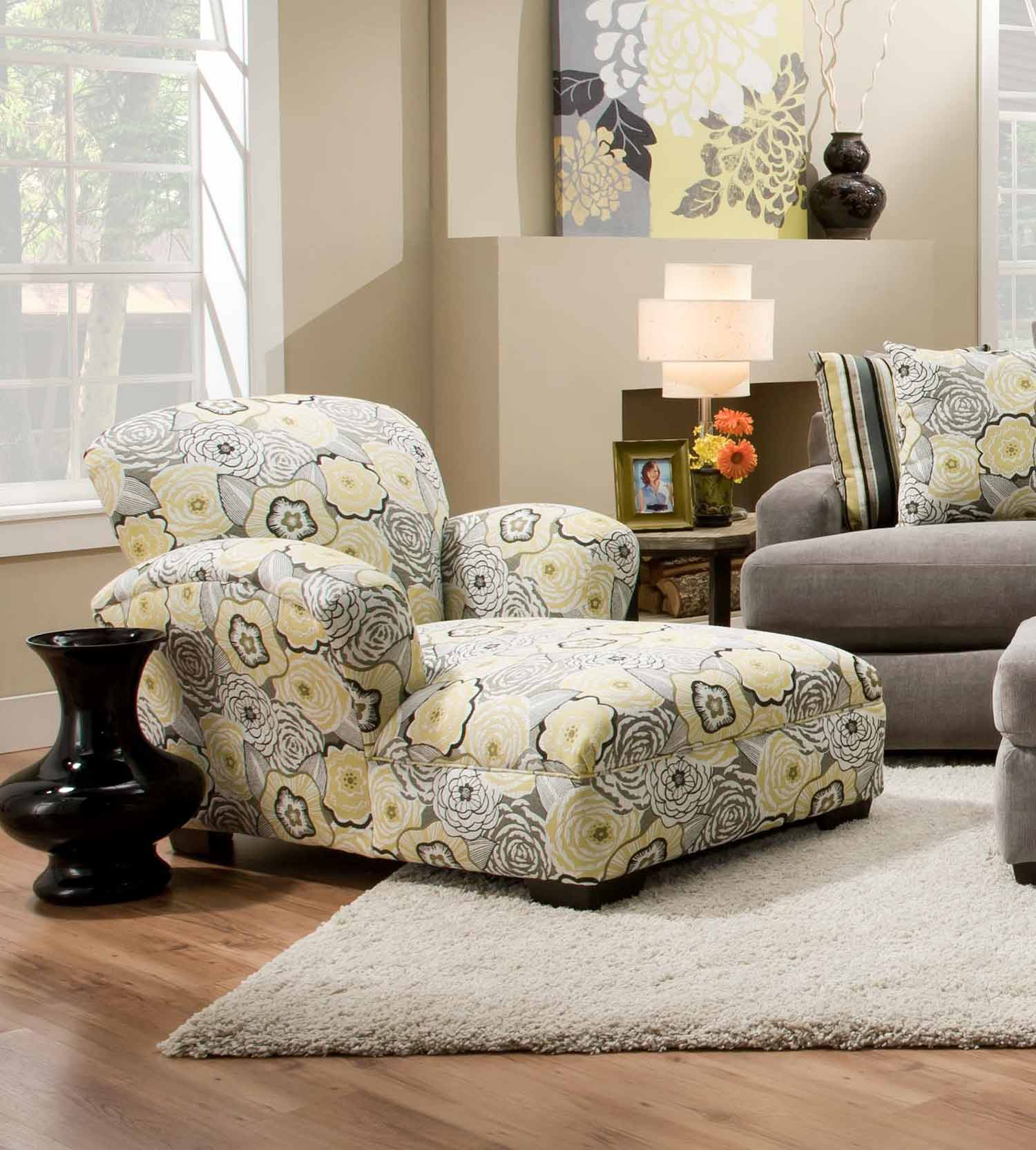 Chelsea home pansy chaise lounge ava yellowgray for Ava chaise lounge