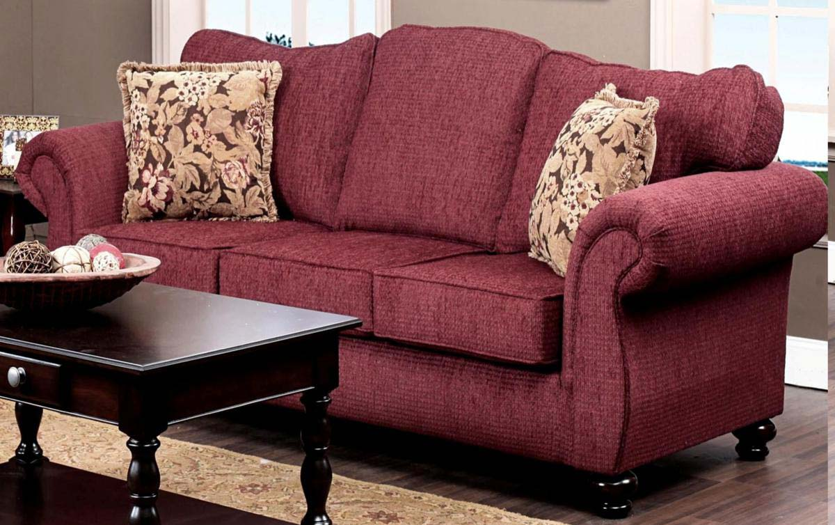 Chelsea Home Ruthie Sofa Set Delray Burgundy