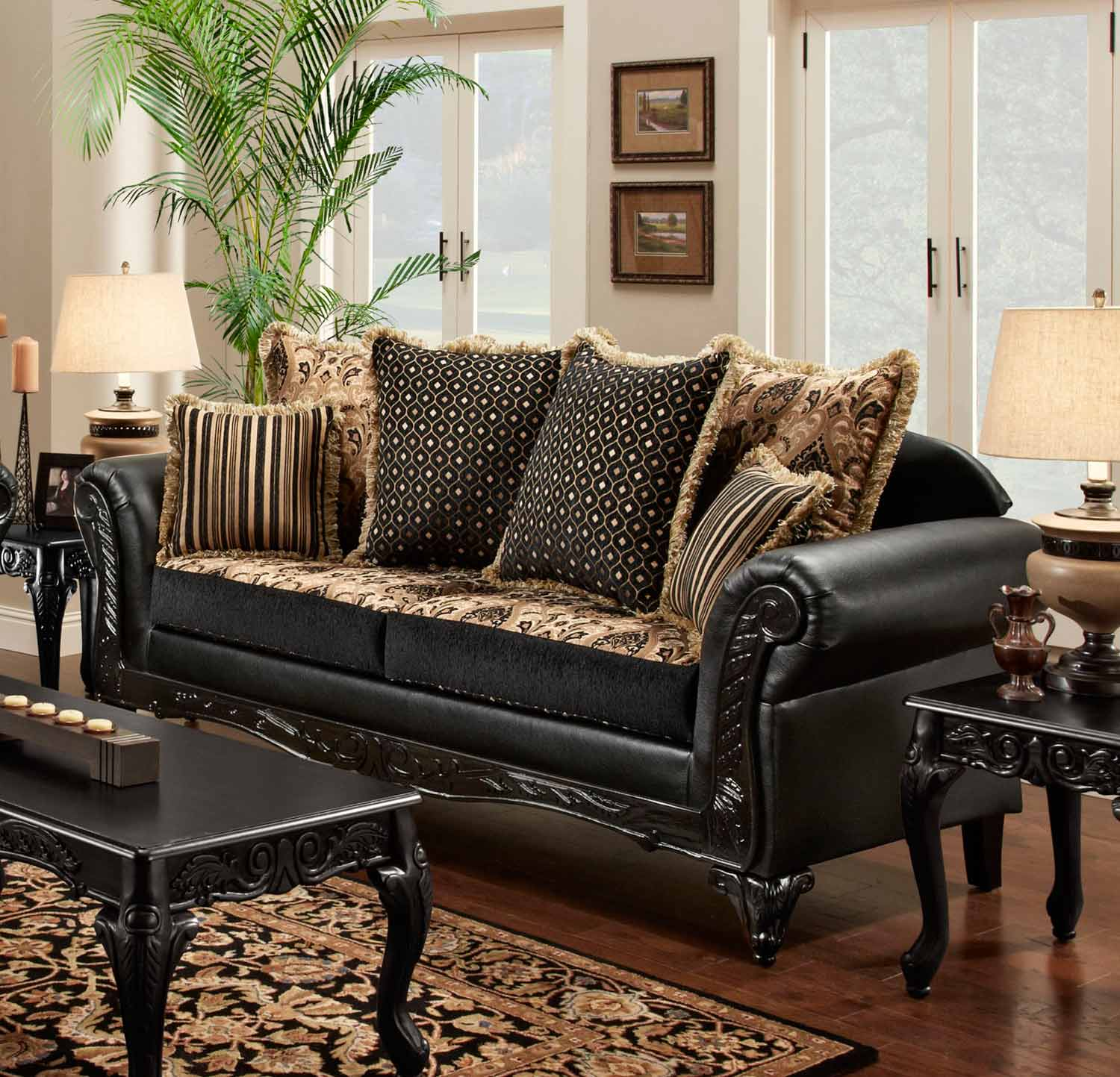 Chelsea Home Gwendolyn Sofa - Monte Carlo Ebony/Bi-Cast Ebony