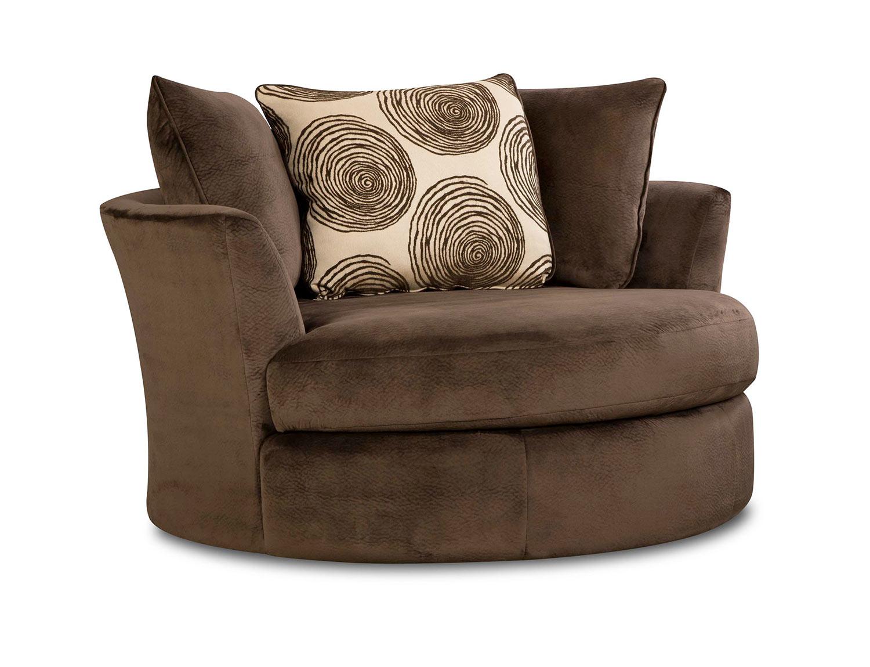 Chelsea Home Rayna Swivel Chair - Groovy Chocolate