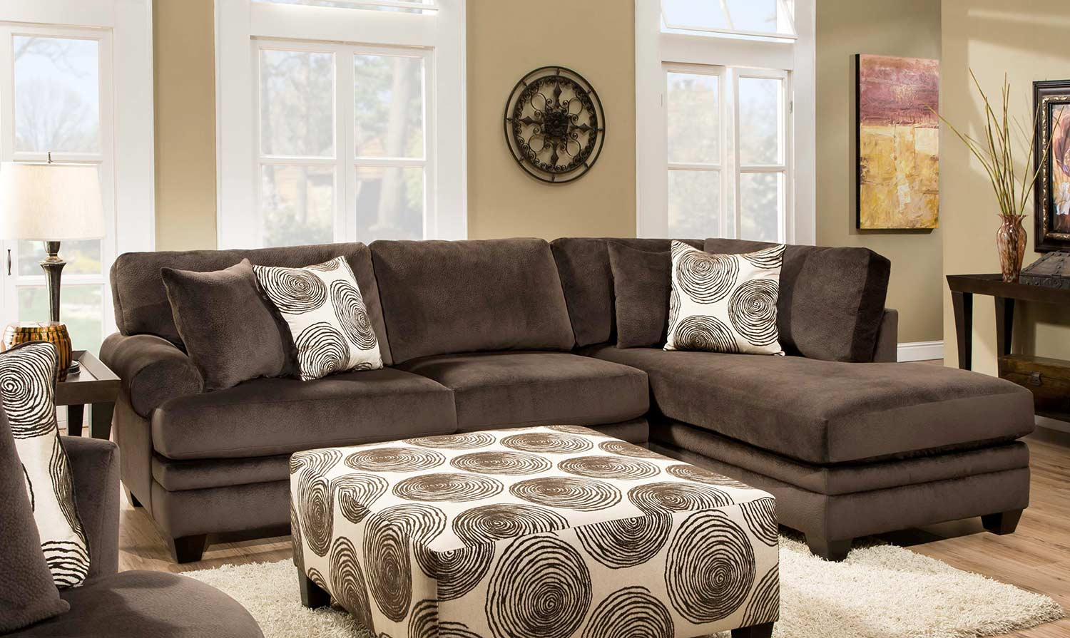 Chelsea Home Rayna 2 Pc Sectional Sofa   Groovy Chocolate