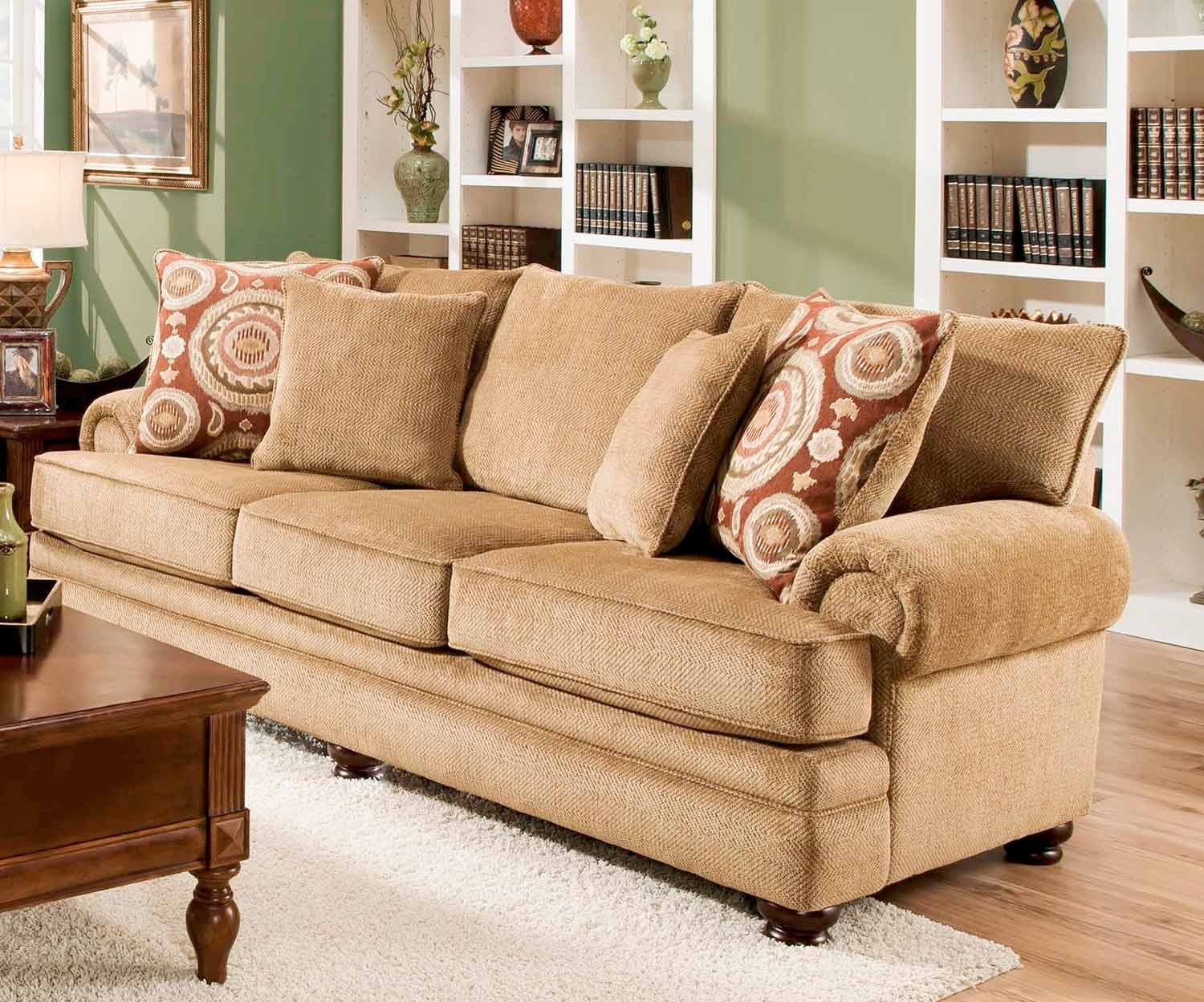 Chelsea Home Ria Sofa Set   Twill Green/Sumatra Cayenne