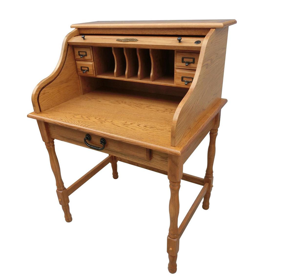 Chelsea Home Lonie 32 Inch Mini Roll Top Desk Harvest Oak