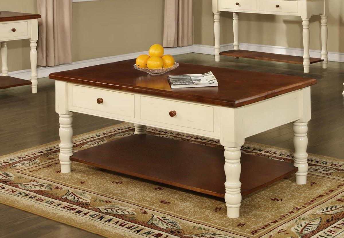 Chelsea Home Brimfield Table - Buttermilk/Cherry