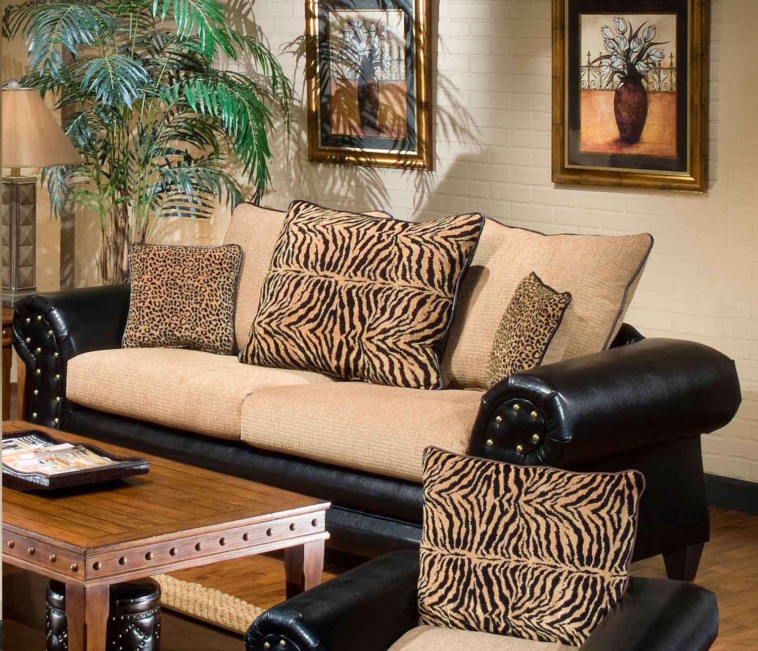 Chelsea Home Zoie Sofa   Denver Black/Delray Camel
