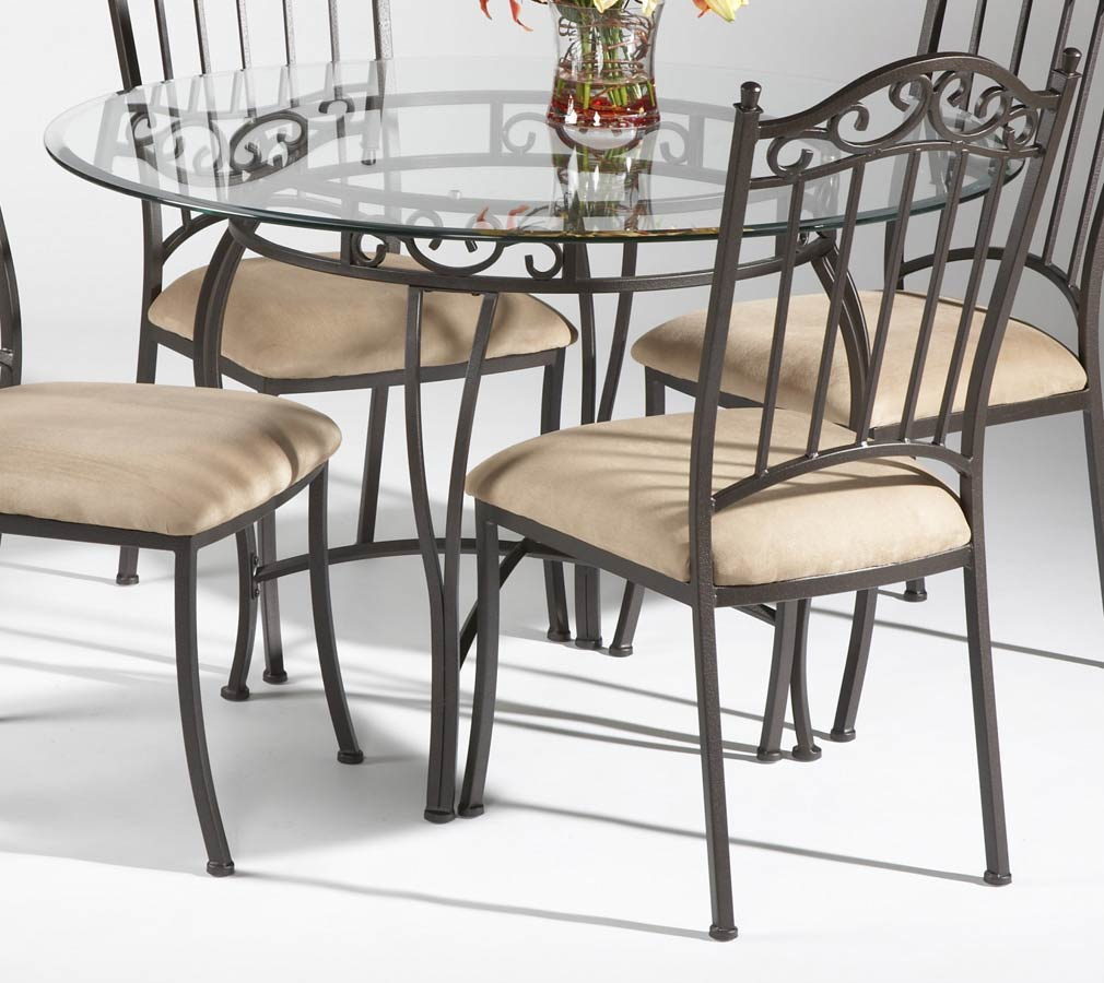 Furniture dining room furniture round dining table for Cast iron and glass dining table
