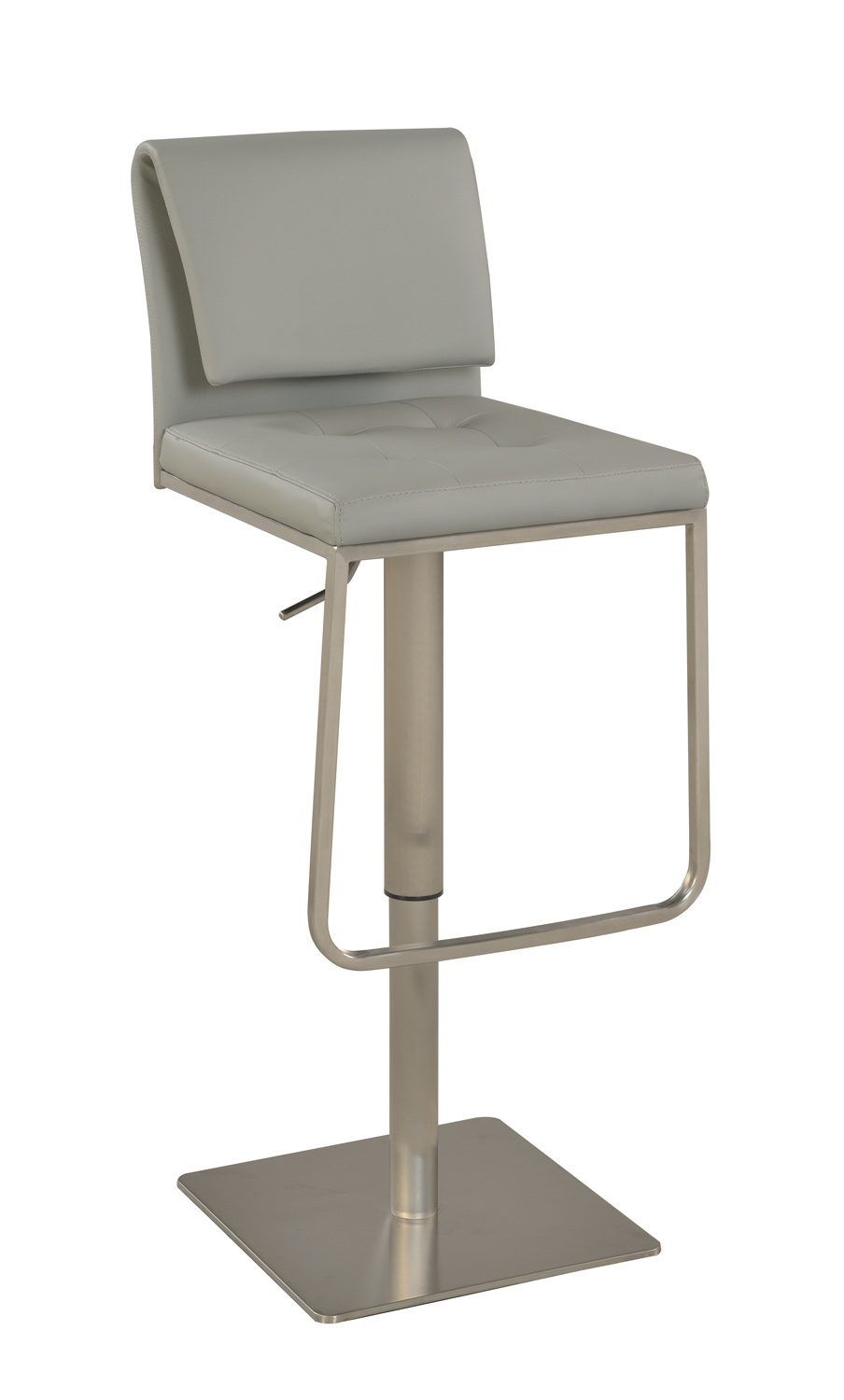 Chintaly Imports 0893 Pneumatic Gas Lift Adjustable Height Stool - Brushed Stainless