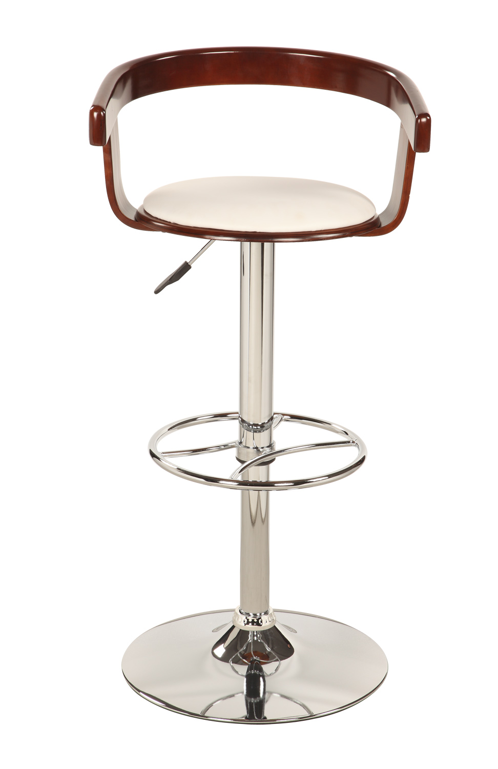 Chintaly Imports 1331 Bentwood Pneumatic Gas Lift Swivel Stool - Chrome/ Cherry