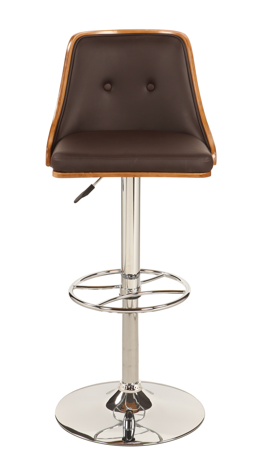 Chintaly Imports 1353 Upholstered Back Pneumatic Gas Lift Swivel Stool - Chrome/ Walnut