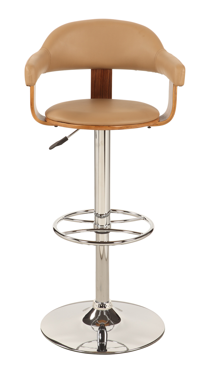 Chintaly Imports 1386 Upholstered Back Pneumatic Gas Lift Swivel Stool - Chrome/ Walnut