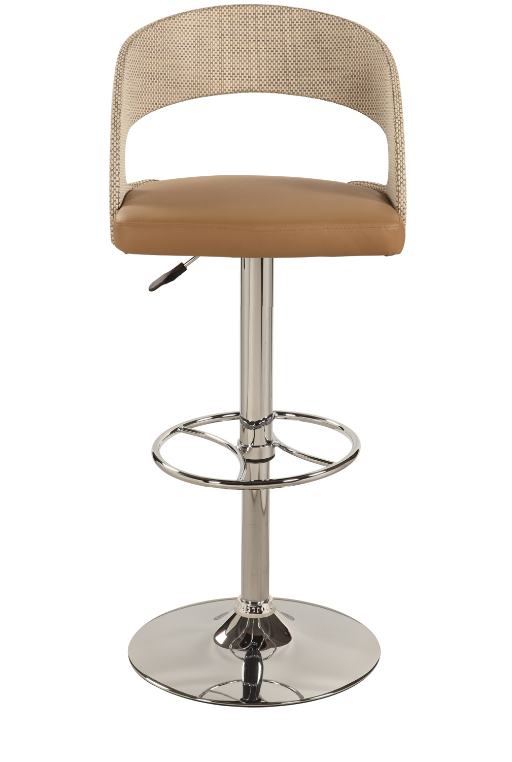 Chintaly Imports 1391 Curved Round Back Pneumatic Swivel Stool - Chrome/ Beige