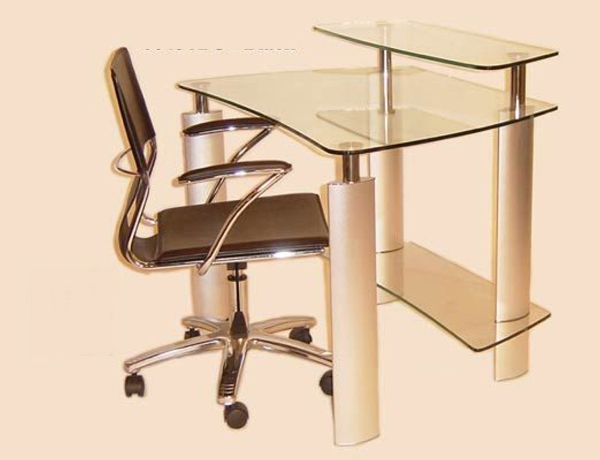 chintaly imports computer desk with clear glass top and. Black Bedroom Furniture Sets. Home Design Ideas