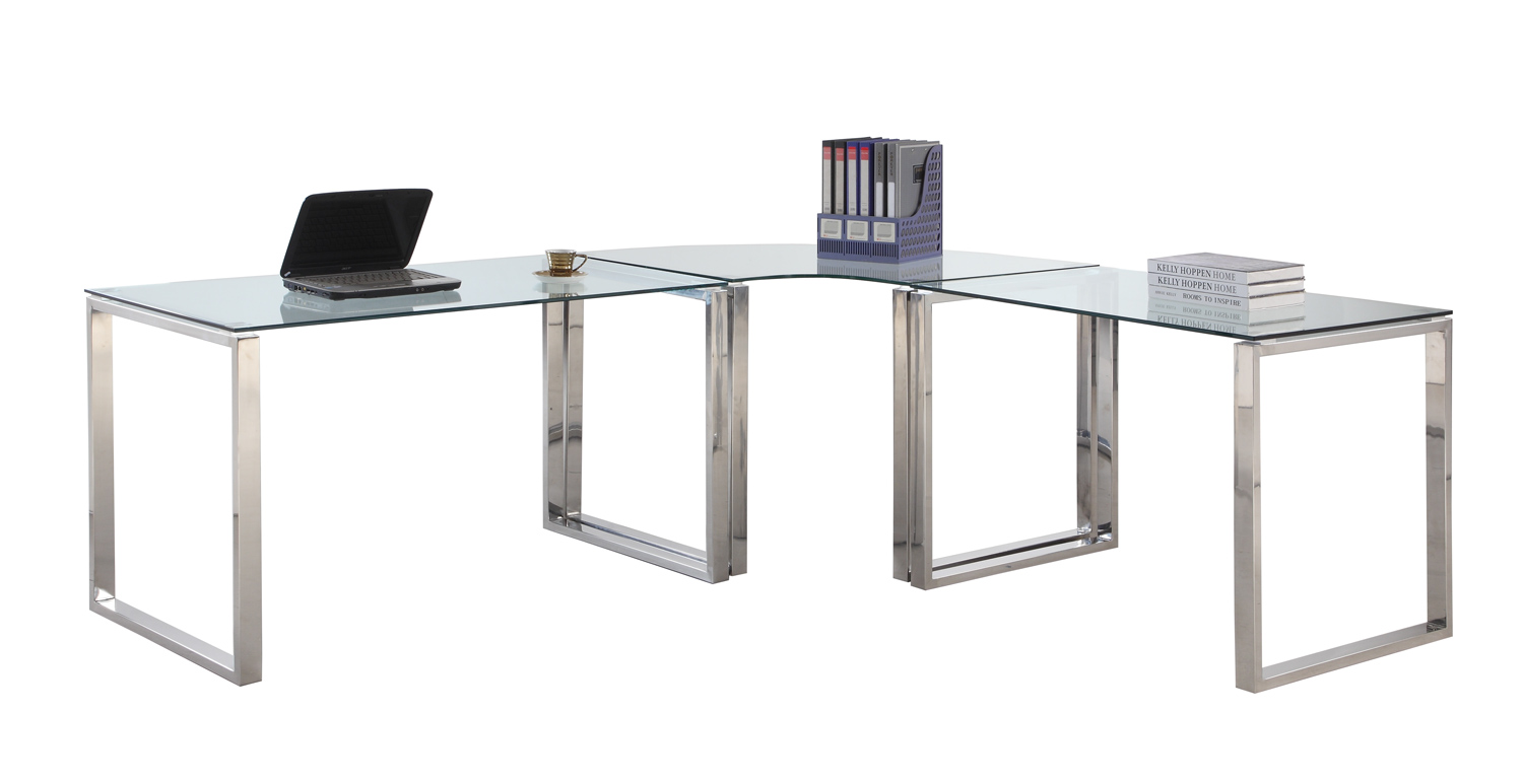 Chintaly Imports 6931 Computer Desk Table - Clear Glass/Stainless Steel