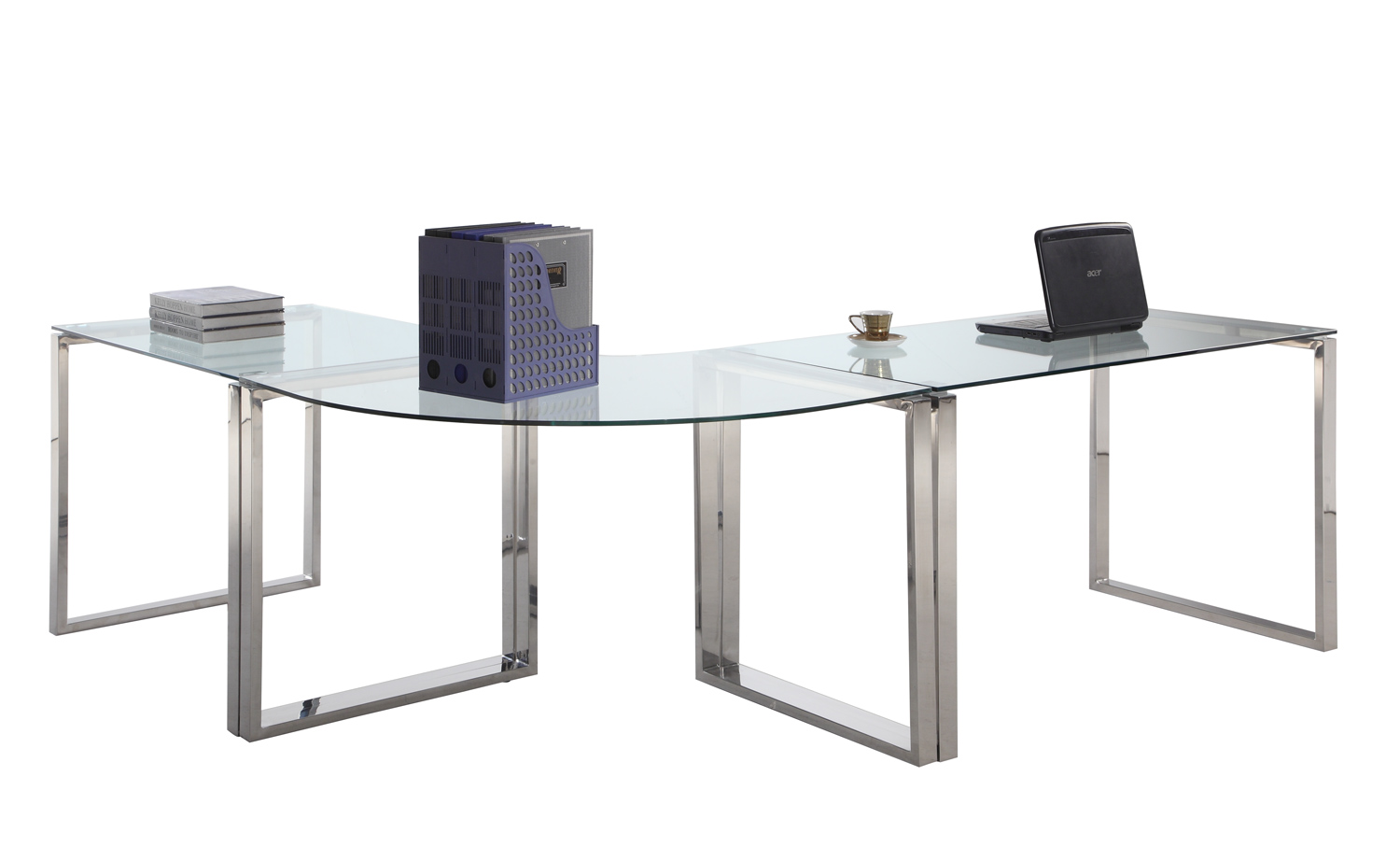Chintaly Imports 6931 Computer Desk Table Clear Glass Stainless Steel