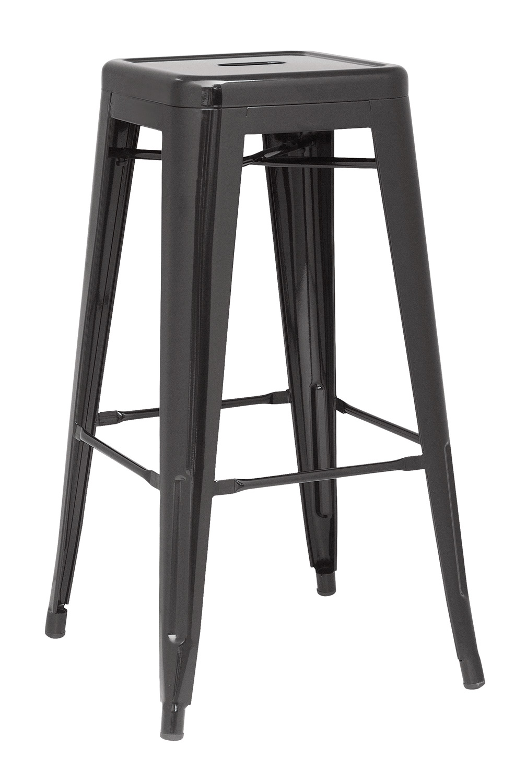 Chintaly Imports 8015 Galvanized Steel Bar Stool - Black