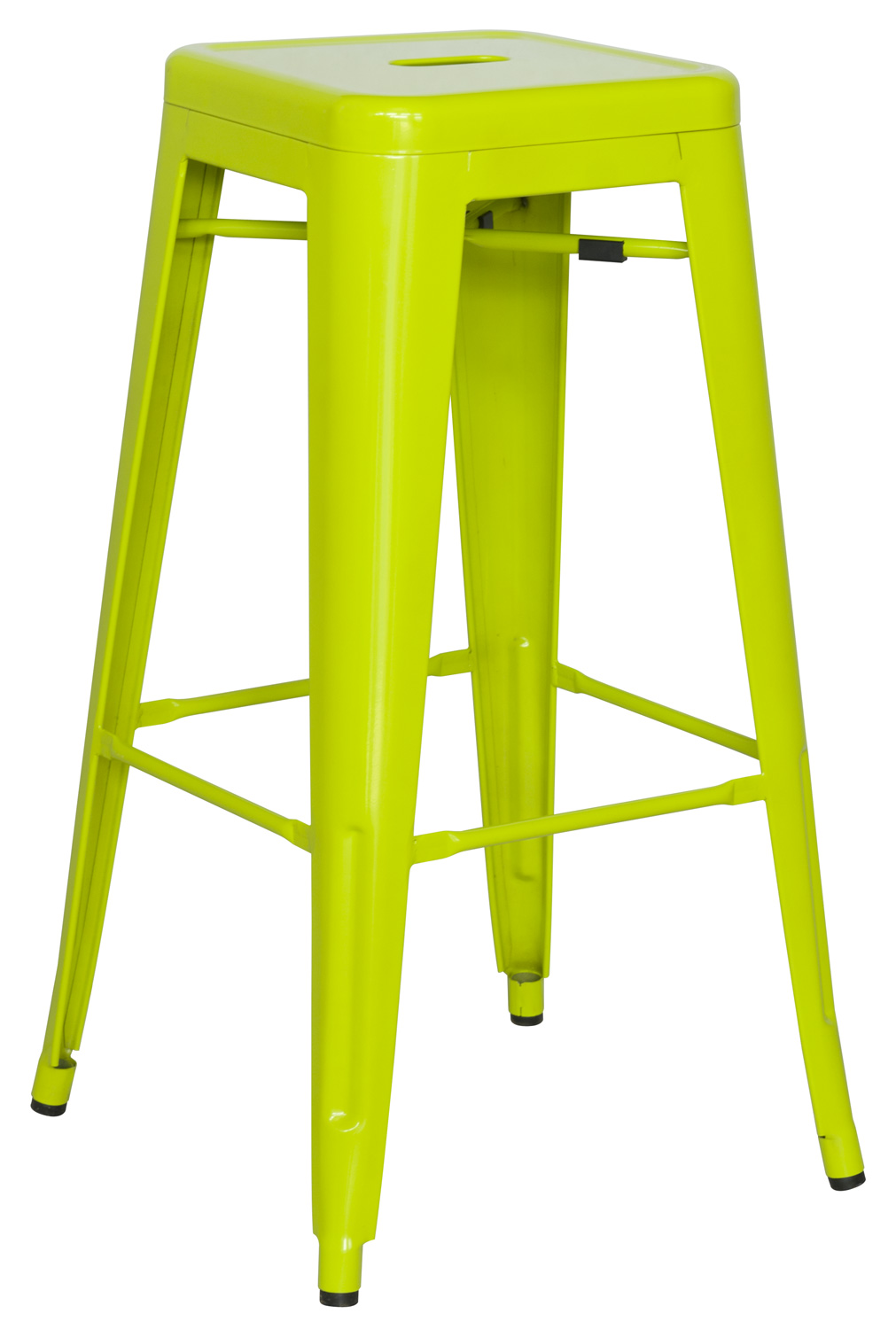 Chintaly Imports 8015 Galvanized Steel Bar Stool - Lime Green