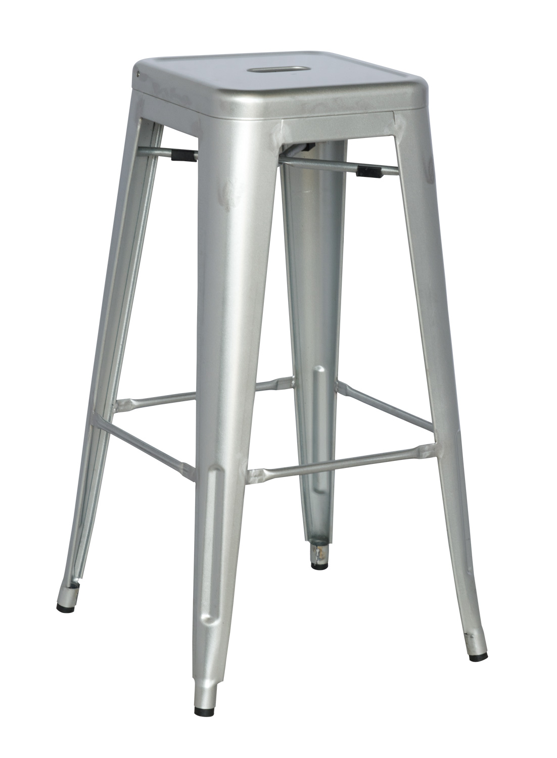 Chintaly Imports 8015 Galvanized Steel Bar Stool - Shiny Silver