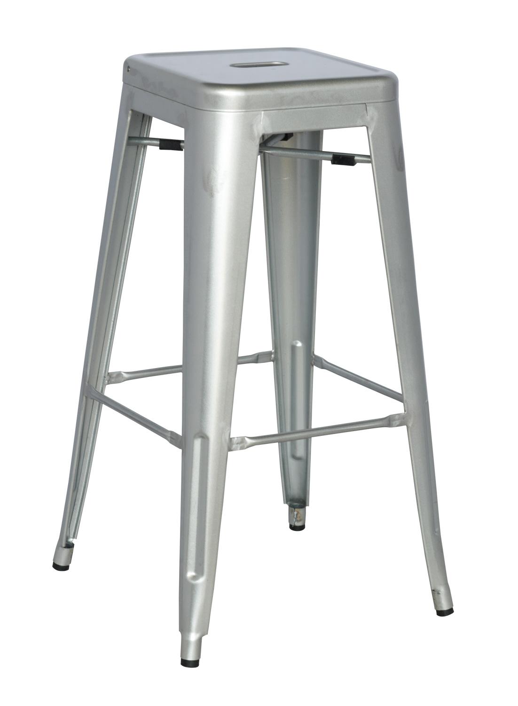 Chintaly Imports 8015 Galvanized Steel Bar Stool Shiny