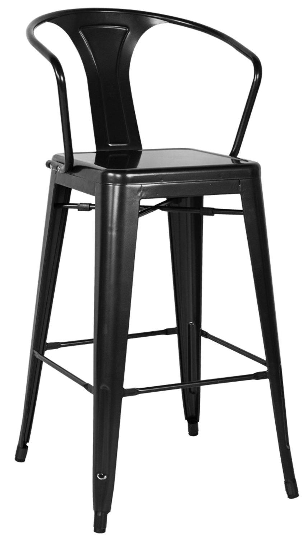 Chintaly Imports 8020 Galvanized Steel Bar Stool - Black