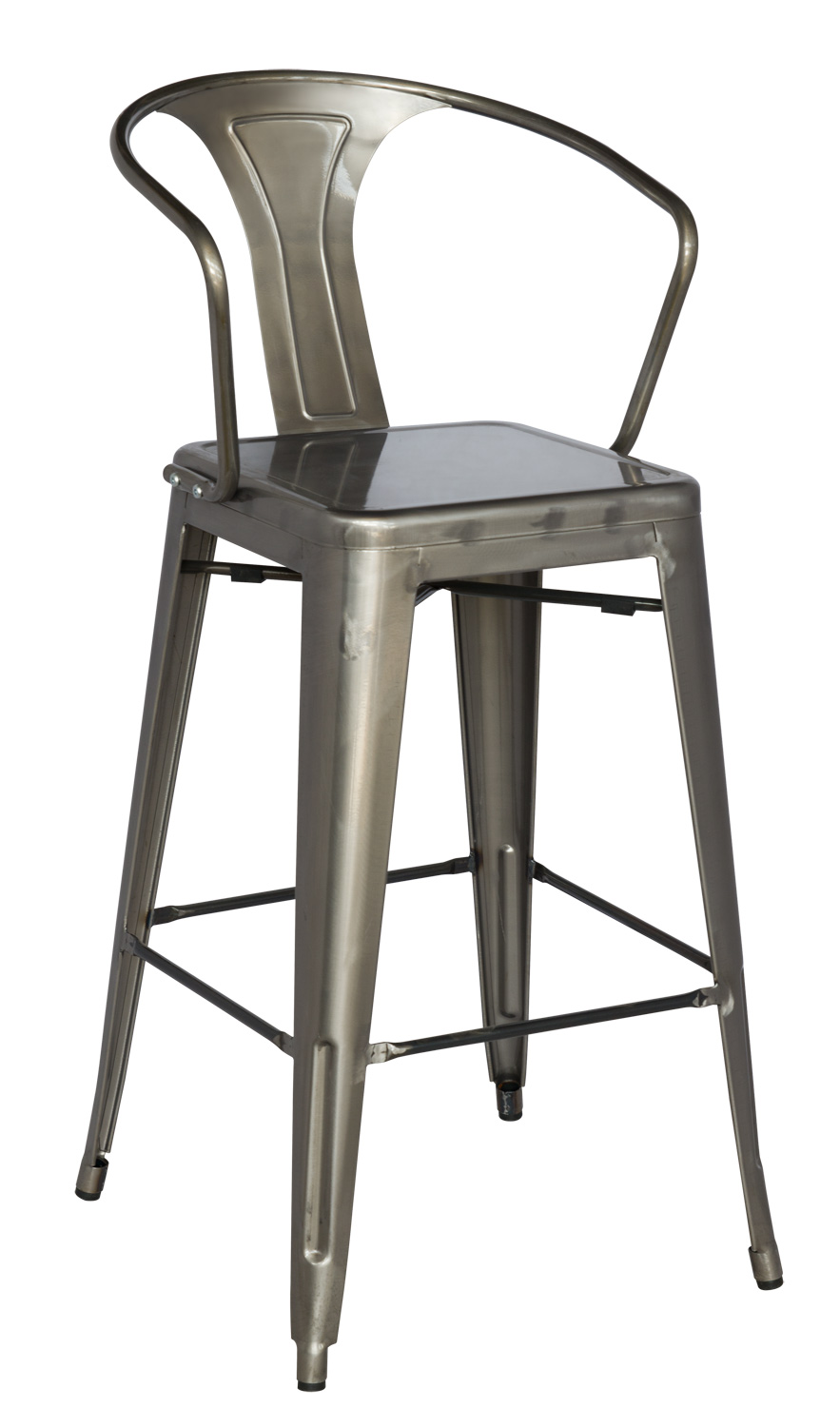 Chintaly Imports 8020 Cold Roll Steel Bar Stool - Gun Metal