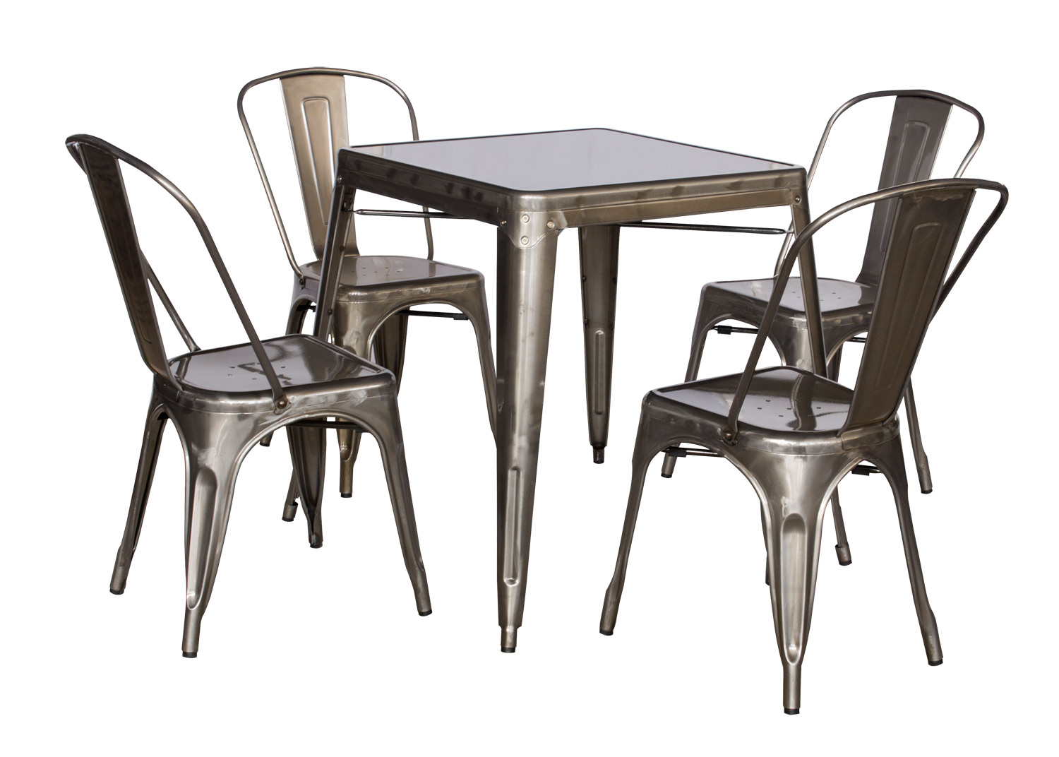 Chintaly Imports 8029 Cold Roll Steel Dining Set - Gun Metal