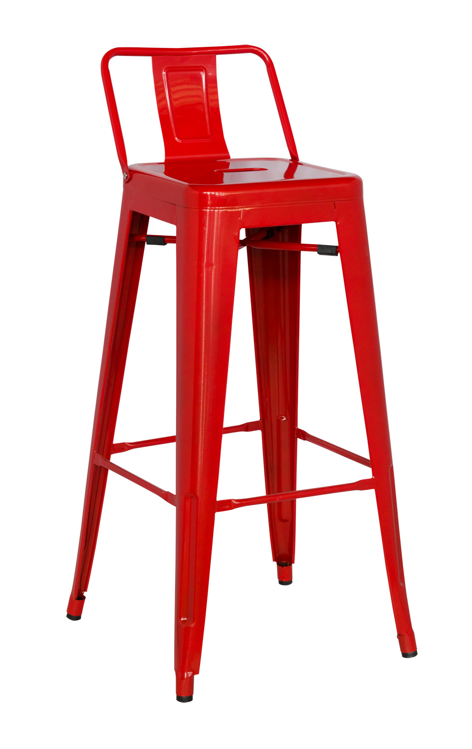Chintaly Imports 8030 Galvanized Steel Bar Stool - Red