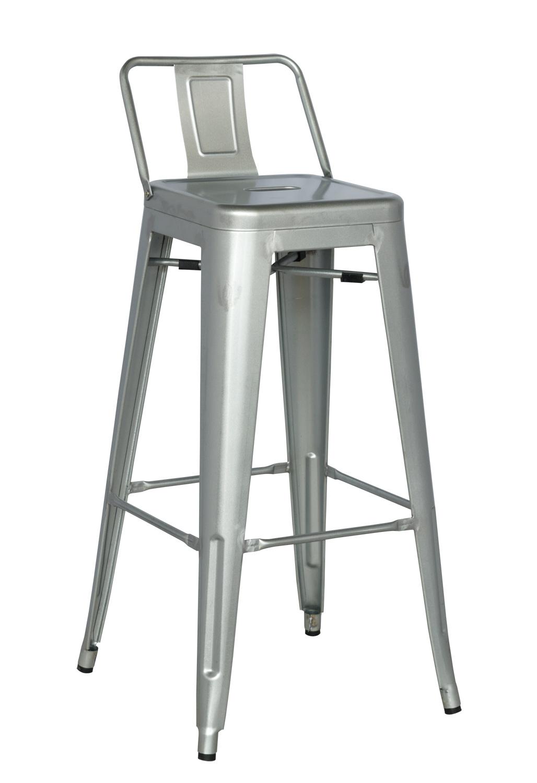 Chintaly Imports 8030 Galvanized Steel Bar Stool Shiny