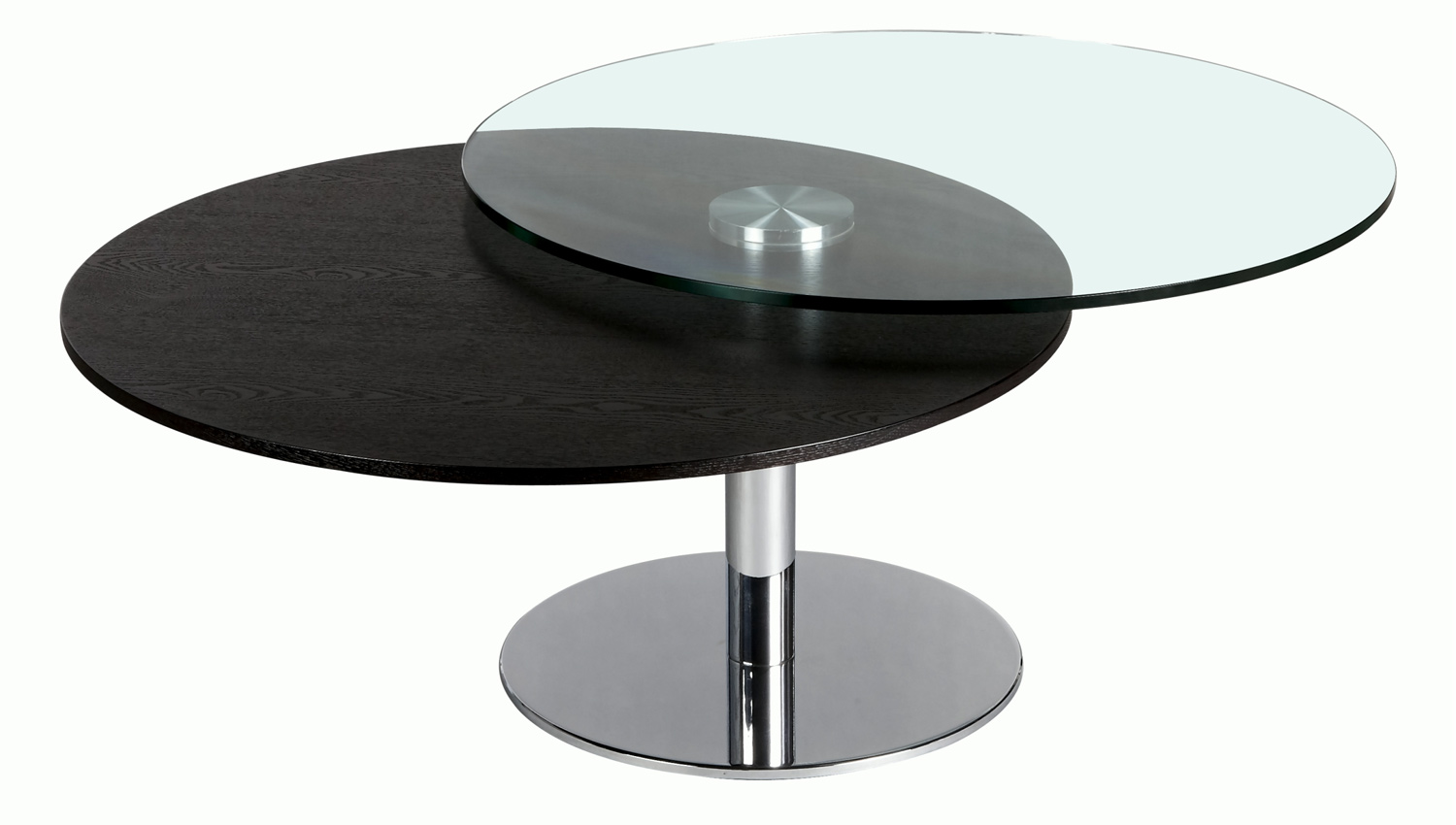 Chintaly Imports 8176 Motion Cocktail Table - Clear Glass/Ash Veneer/Chrome