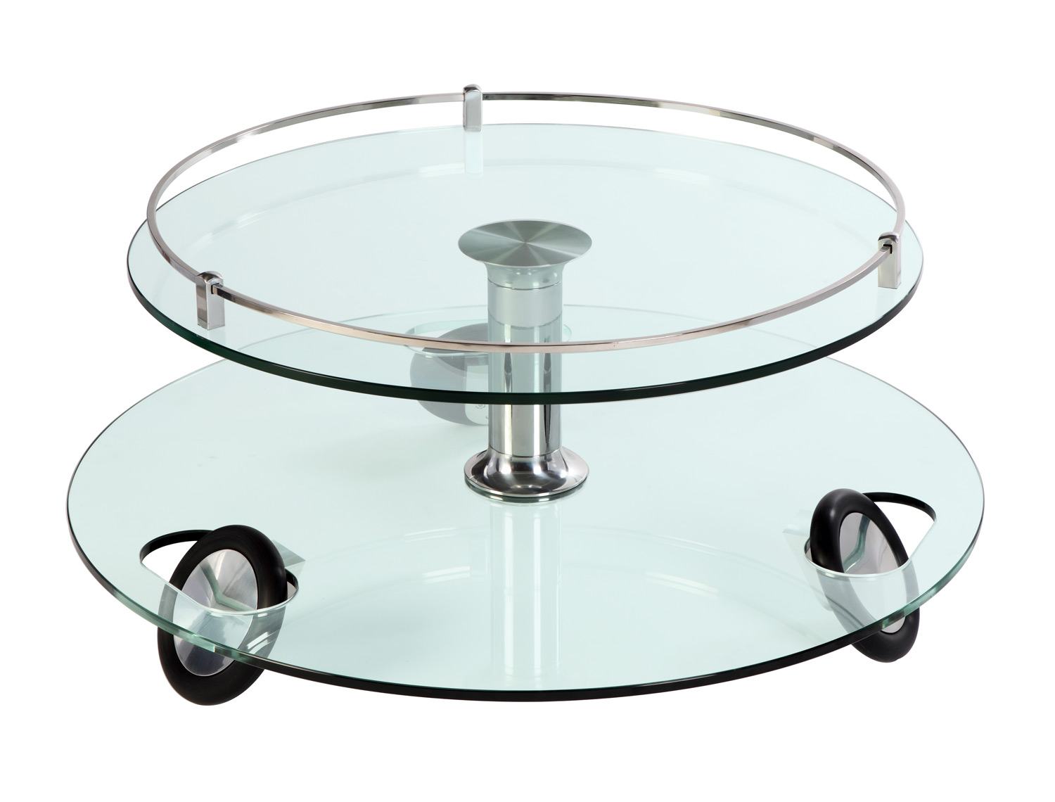 Chintaly Imports 8178 Castered Cocktail Table - Clear Glass/Chrome