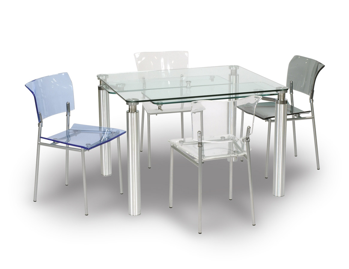 Chintaly Imports 9067 DT SET Rectangular Dining Collection with Acrylic Side Chair