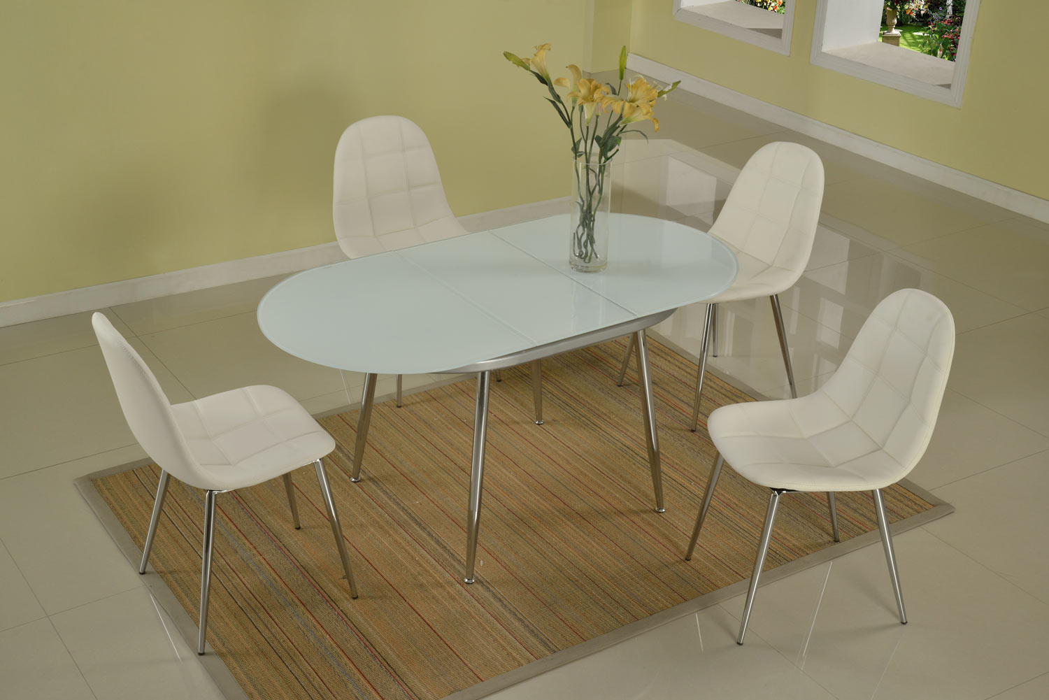 Chintaly Imports Donna Contemporary Extendable 5-Piece Dining Set - Chrome and White Painted Glass