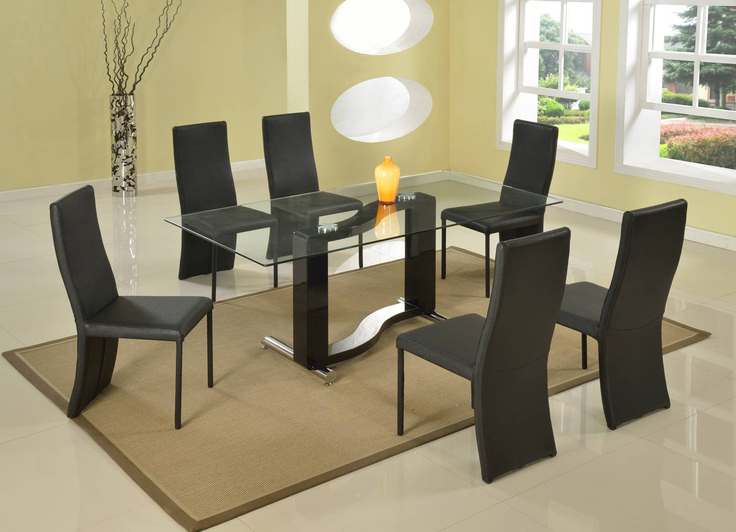 Chintaly Imports Fenya Rectangular Dining Set - Black and Chrome
