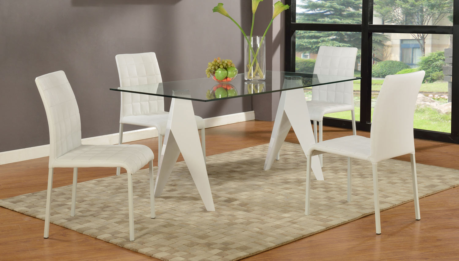 Chintaly Imports Fielding Rectangular 5-Piece Dining Set - Clear Glass/Gloss White