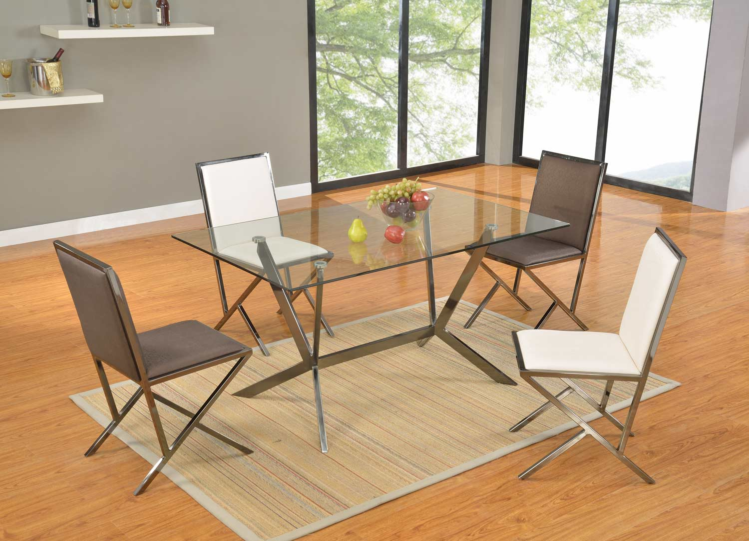 Chintaly Imports Lauren 10mm 5-Piece Dining Set - Clear Glass/Gloss Black Nickel
