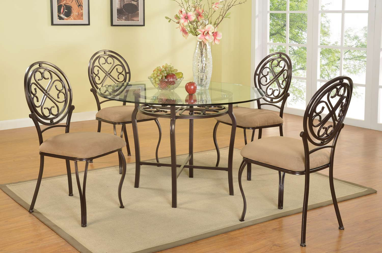 Chintaly Imports Lily Traditional 5-Piece Dining Set - Clear Glass/Hammered Brown