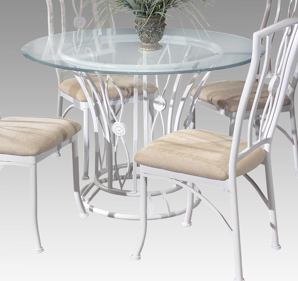 Chintaly Imports Medallion Round Dining Table with Glass Top