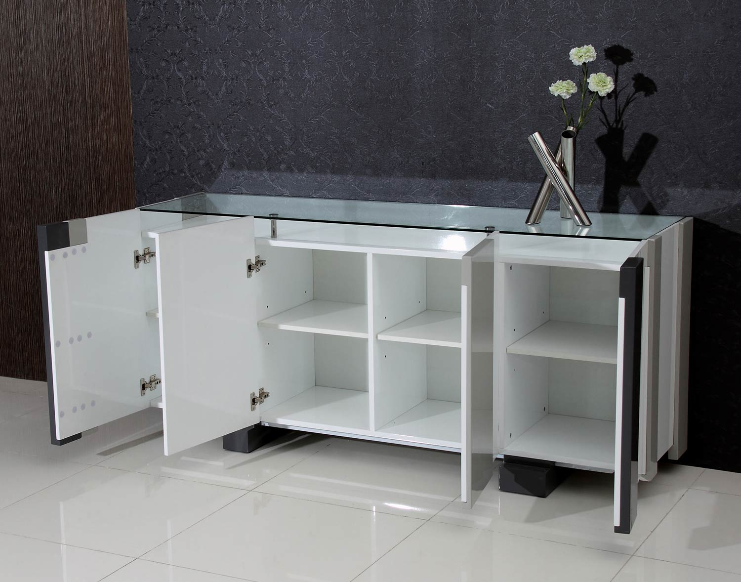 Chintaly Imports Shelley Modern Four-Door Buffet Glass Top - Clear Glass/Gloss White and Gray