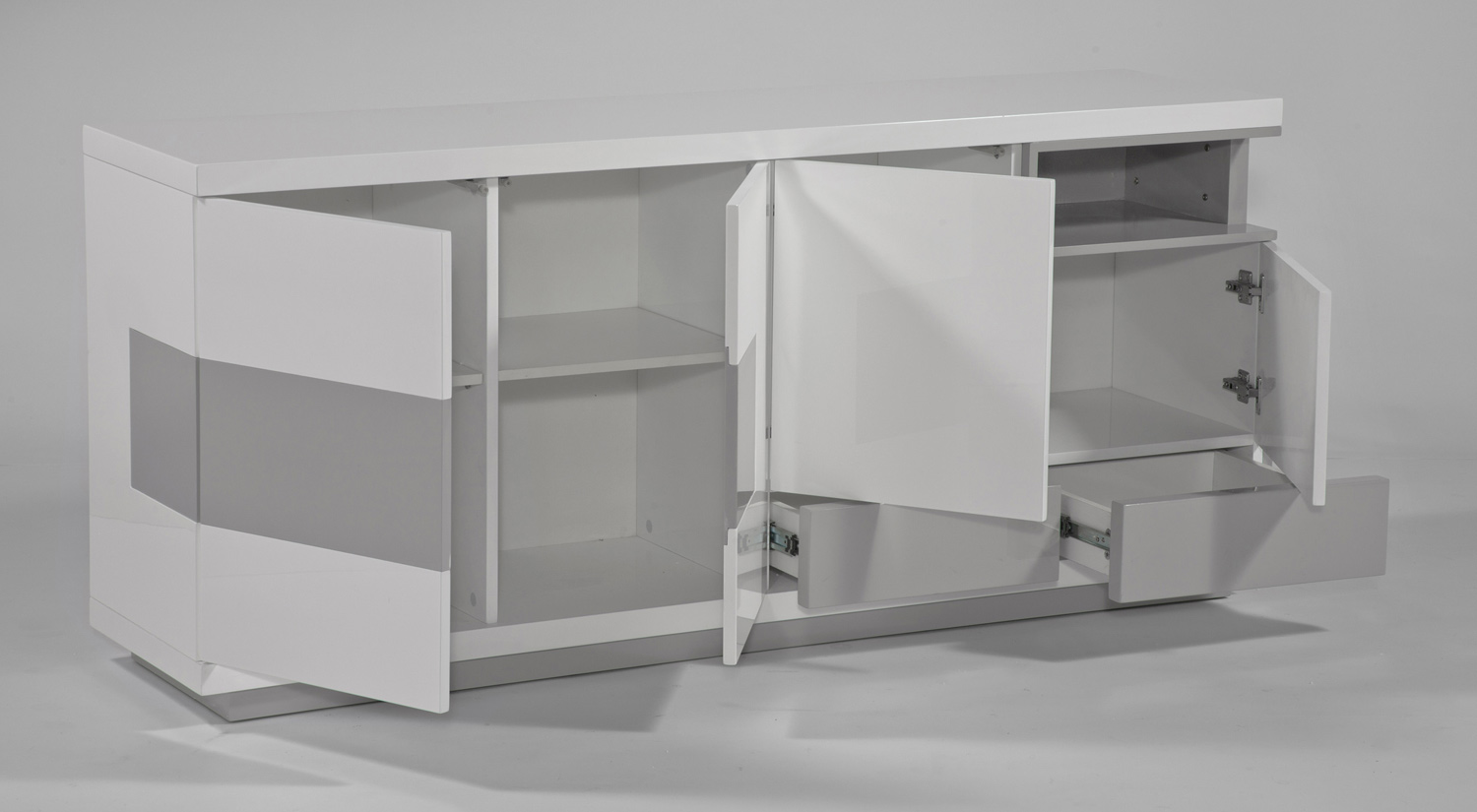 Chintaly Imports Summer Modern Four-Door Buffet - Gloss White and Gray