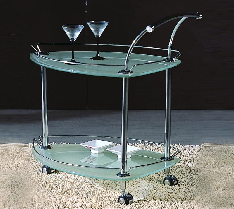 Chintaly Imports Triangular Glass Rolling Tea Cart