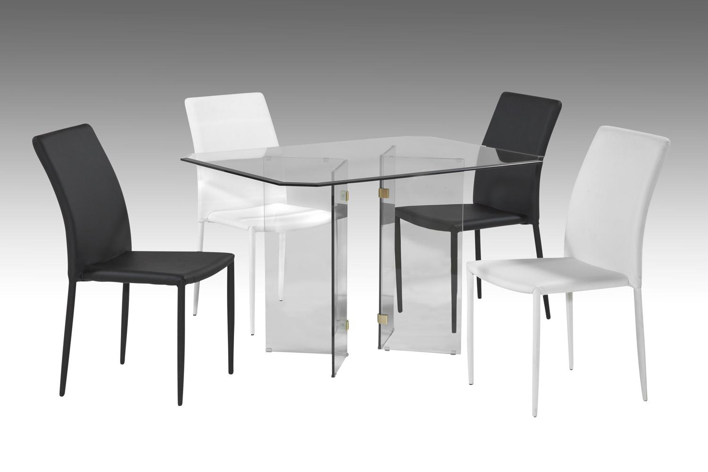 Chintaly Imports V Base Brass Bevel Glass 5-Piece Dining Set - Clear Glass