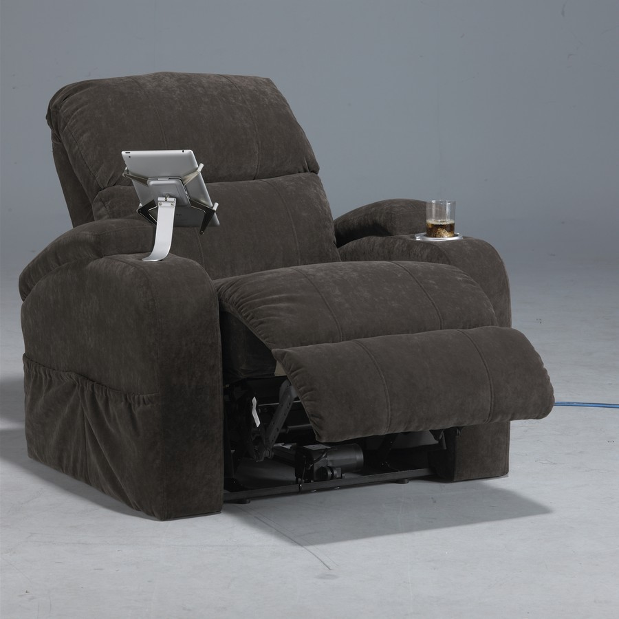 CatNapper The Chiller Reclining Chair with iPad Claw and Lighted/Cooling Cupholder - Bitter