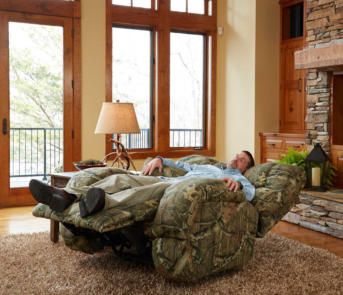 CatNapper Duck Dynasty Appalachian Power Lay Flat Recliner   Mossy Oak  Infinity