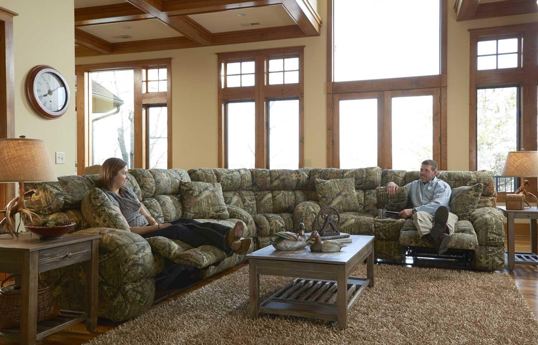 Catnapper Duck Dynasty Appalachian Power Lay Flat Reclining Sectional Sofa Set Mossy Oak