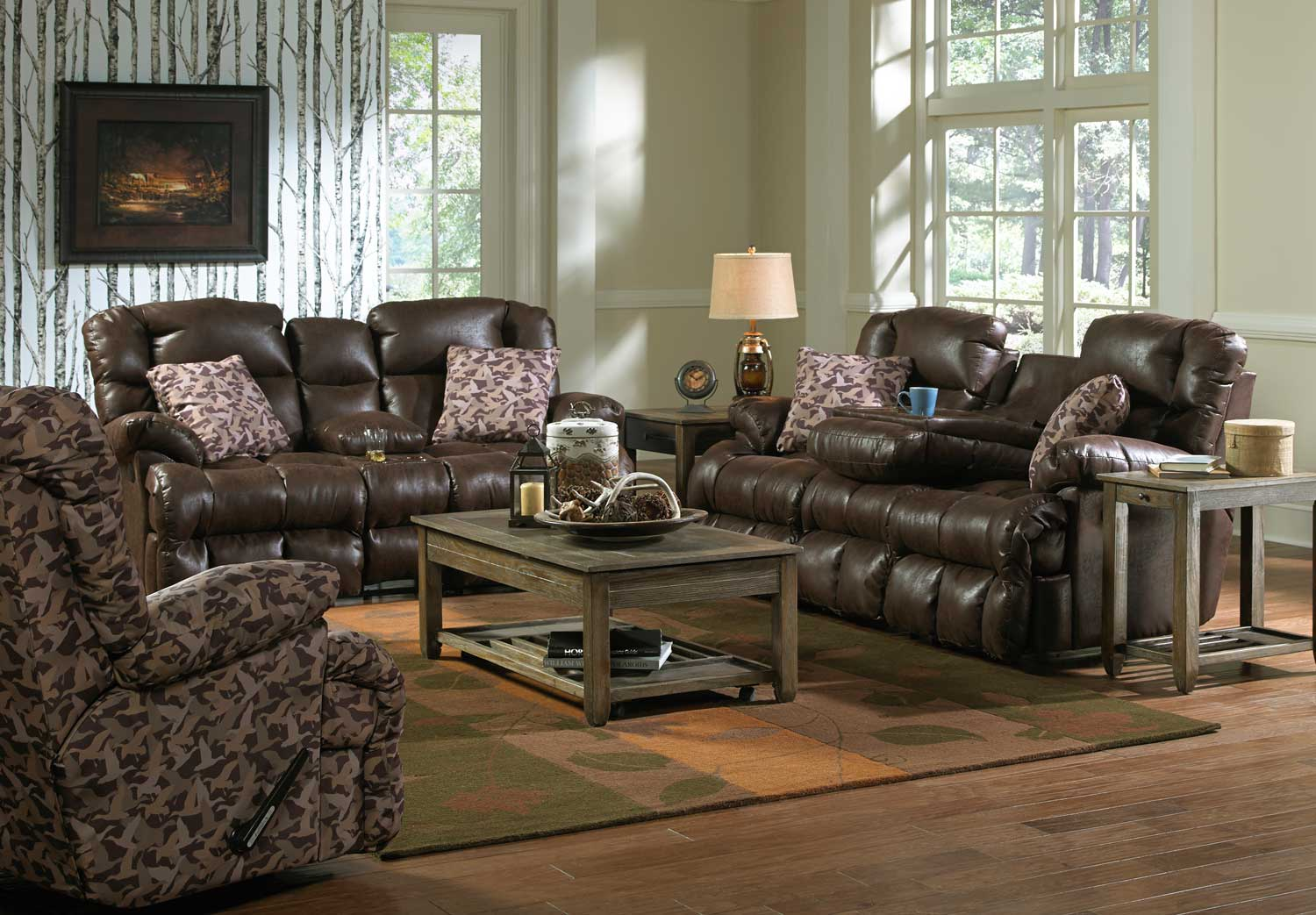 Catnapper duck dynasty cedar creek lay flat reclining sofa for Ashley furniture room planner