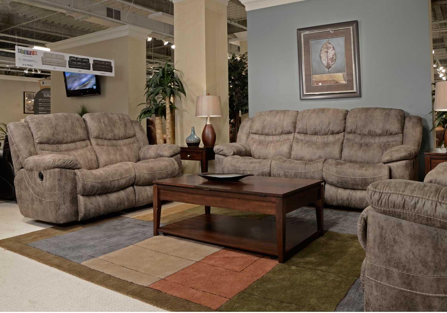 Beautiful CatNapper Valiant Reclining Sofa Set   Marble