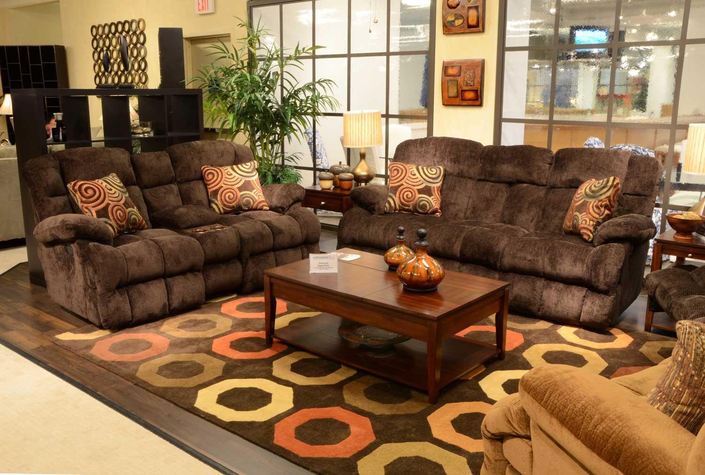 Catnapper concord lay flat reclining sofa set mahogany for Fabric reclining living room sets