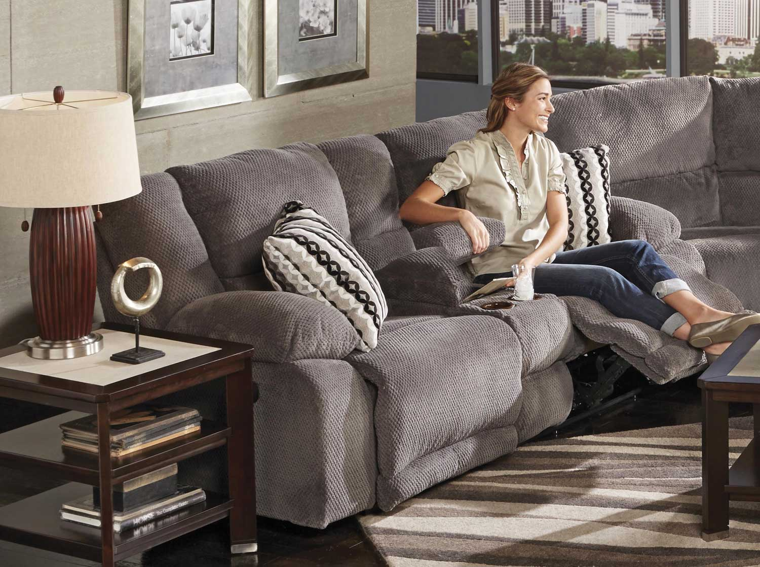 CatNapper Hammond Power Reclining Console Loveseat with Storage and Cupholders - Granite