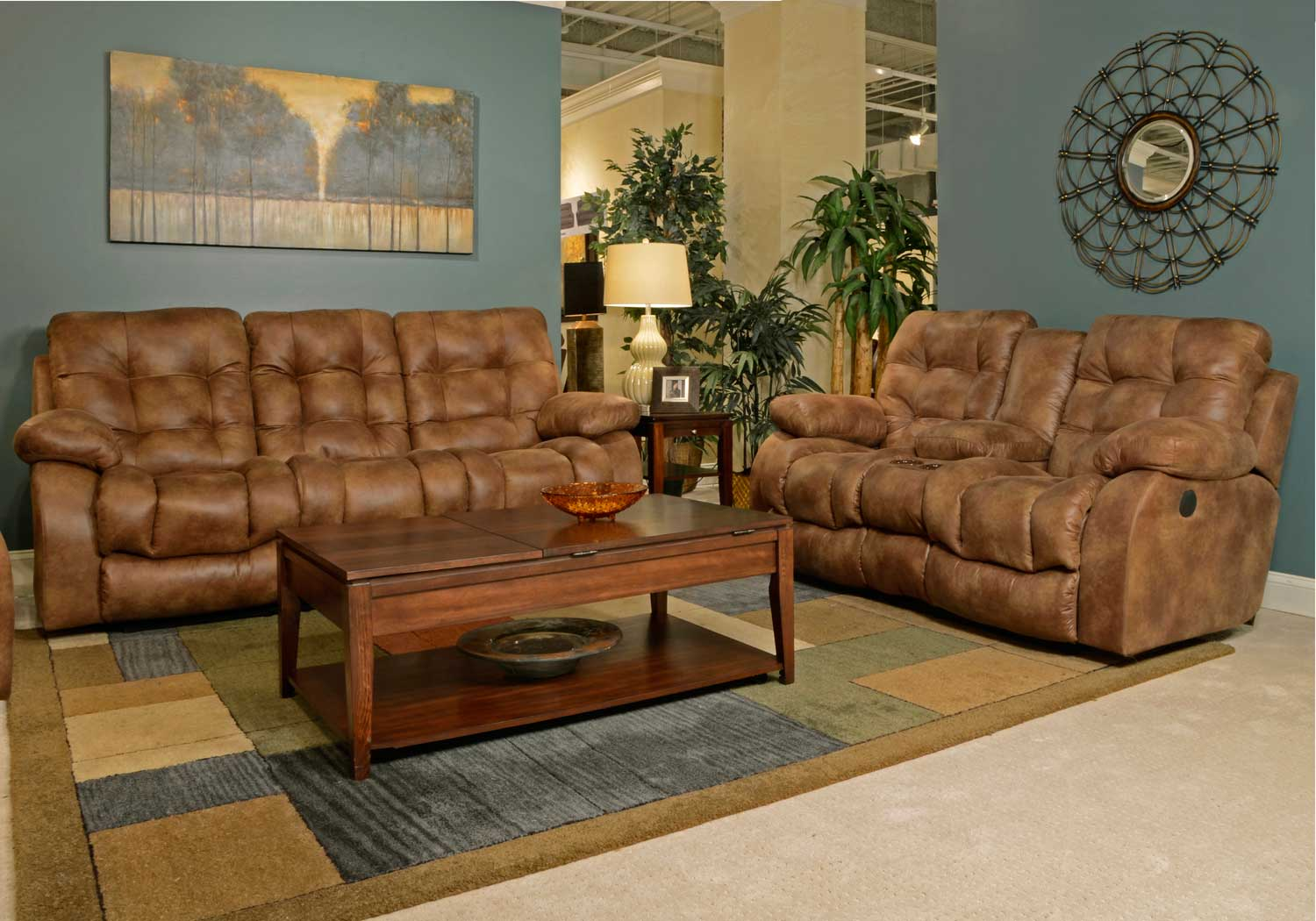 Catnapper Watson Lay Flat Reclining Sofa Set Almond Cn 1521 Sofa Set Almond At