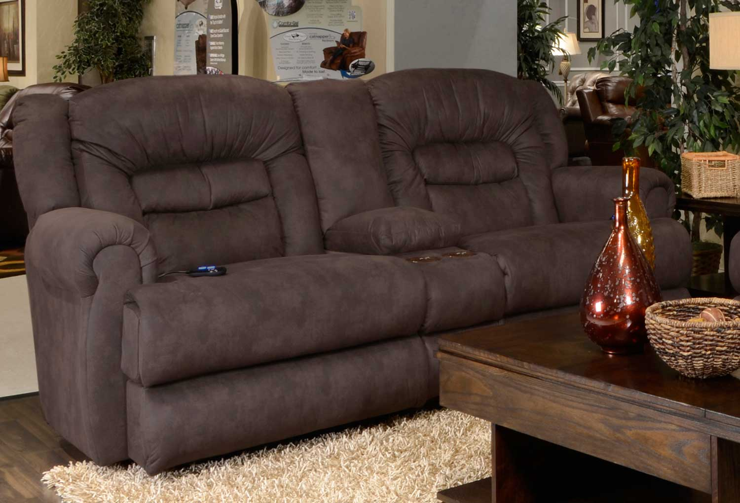 CatNapper Atlas Power Reclining Console Loveseat With Storage And  Cupholders   Sable
