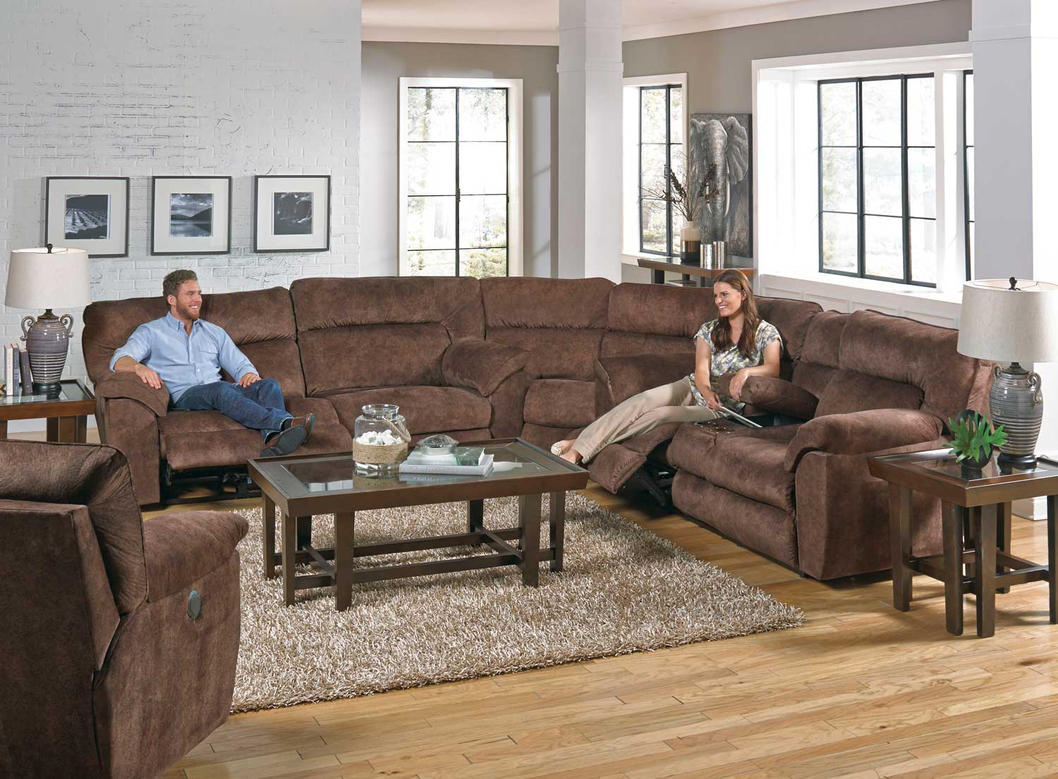 Catnapper Nichols Power Reclining Sectional Sofa Set Chestnut Cn 61671 Sect Sofa Set Chestnut